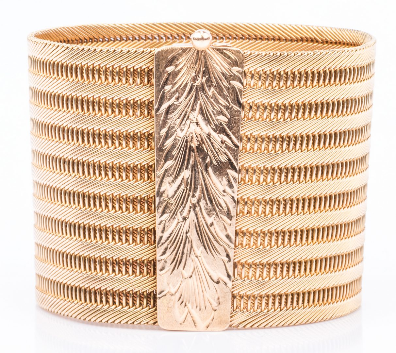Lot 46: 18K Italian Woven Wide Bracelet