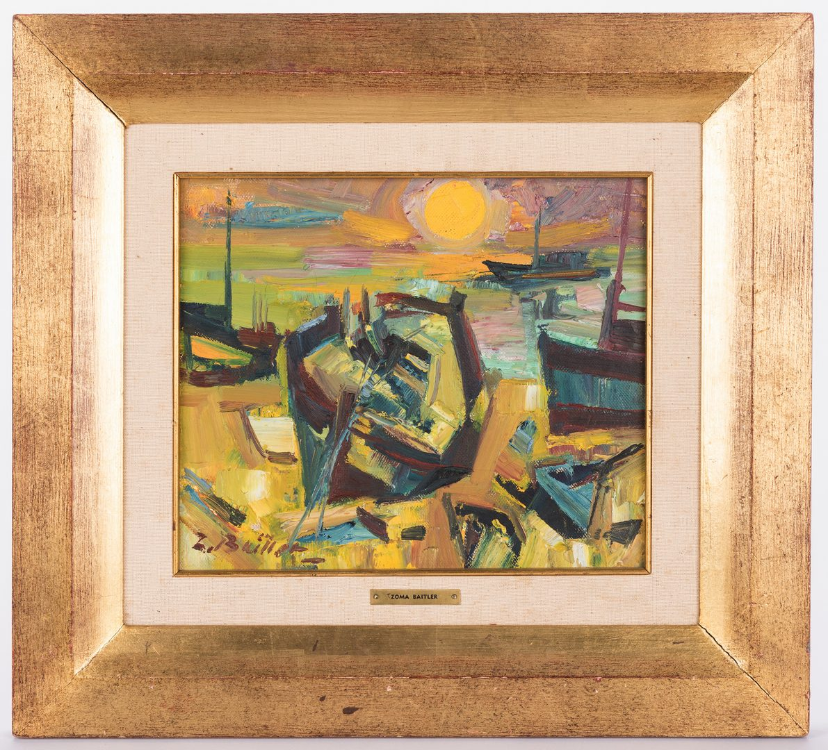 Lot 470: Zoma Baitler Cubist Oil on Canvas