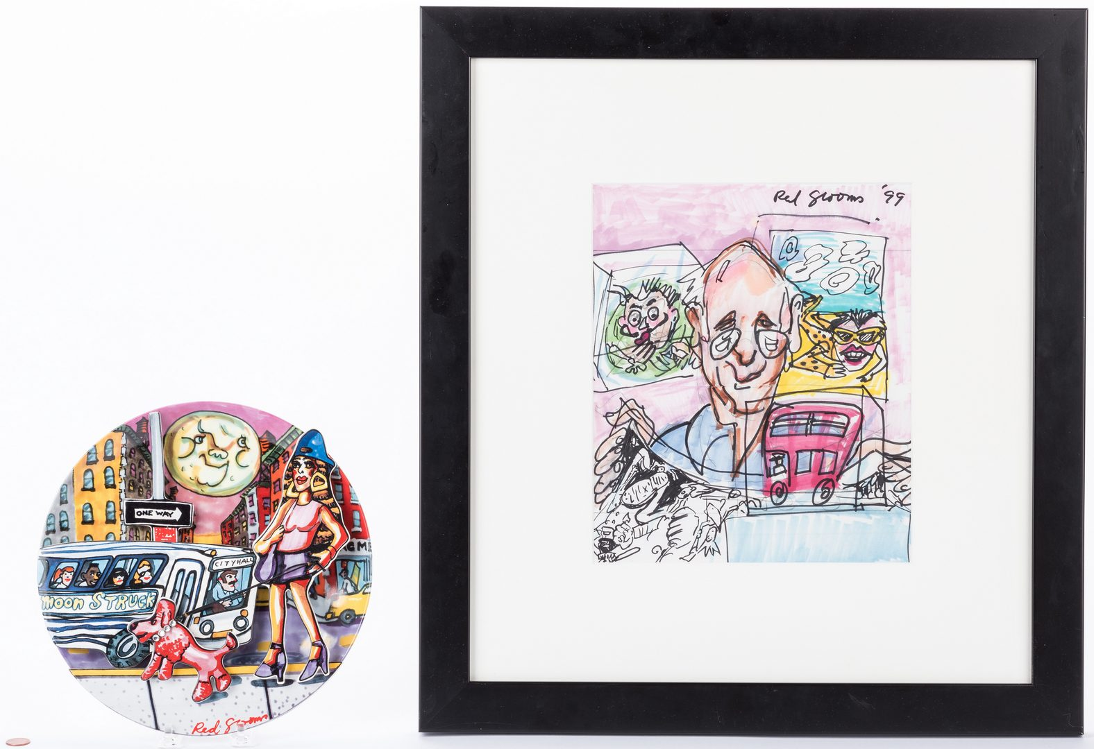 Lot 483: Red Grooms Drawing & Plate, 2 items