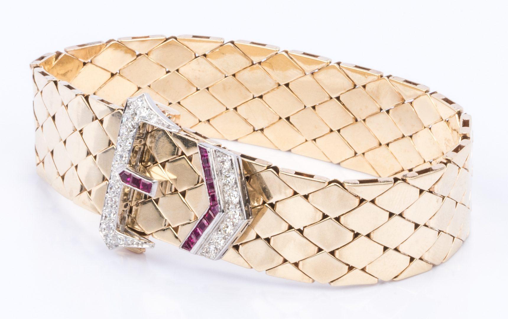 Lot 48: Art Deco Buckle Bracelet, 14K Ruby, Diamonds