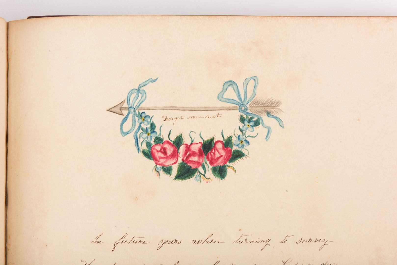 Lot 492: Craige Family, N.C, Watercolor Illustration Album & Notebook, 2 items