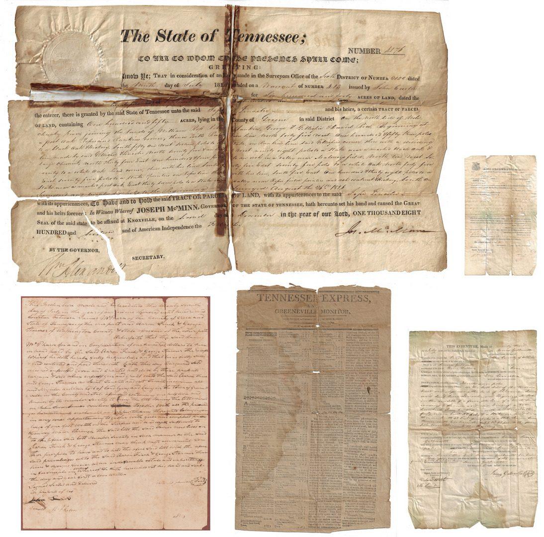 Lot 493: 5 Greene County documents, inc. Maj. J. Sevier Jr. signed