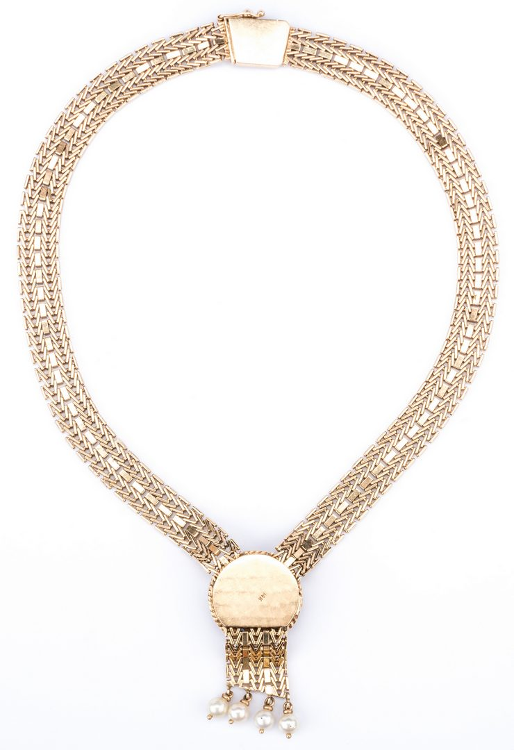 Lot 49: 14K Gold Necklace, Pearl Sapphire Drop