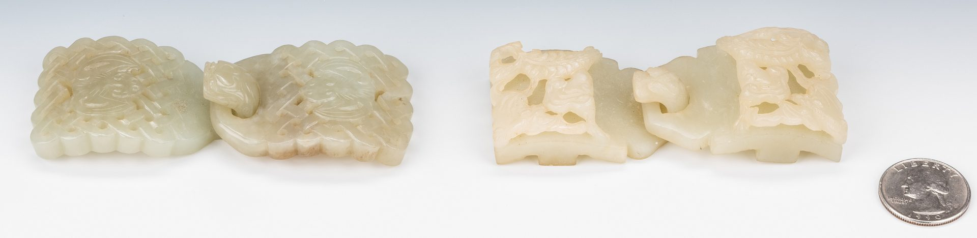 Lot 4: 2 Chinese Celadon Jade Double Belt Buckles