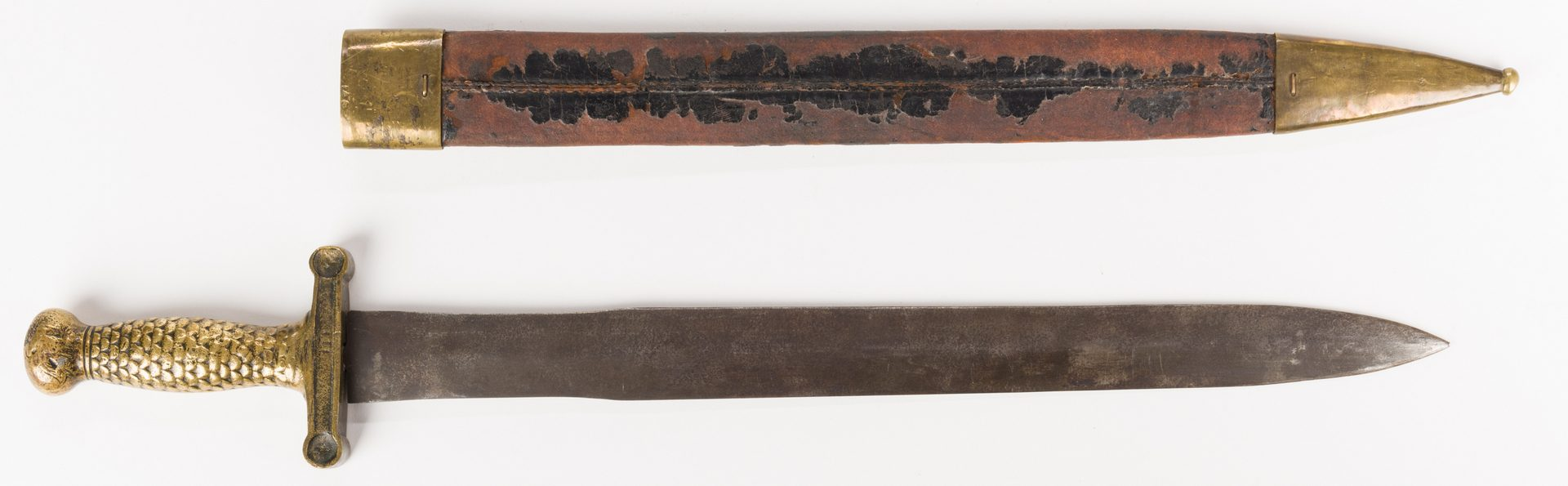 Lot 500: Artillery Short Sword & Scabbard, Poss. Confederate