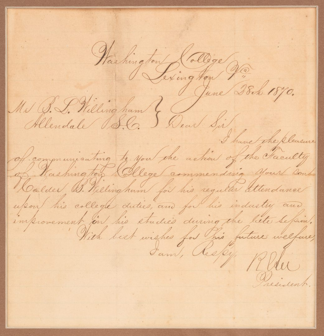 Lot 505: 2 Robert E. Lee signed documents as Pres. of Washington College