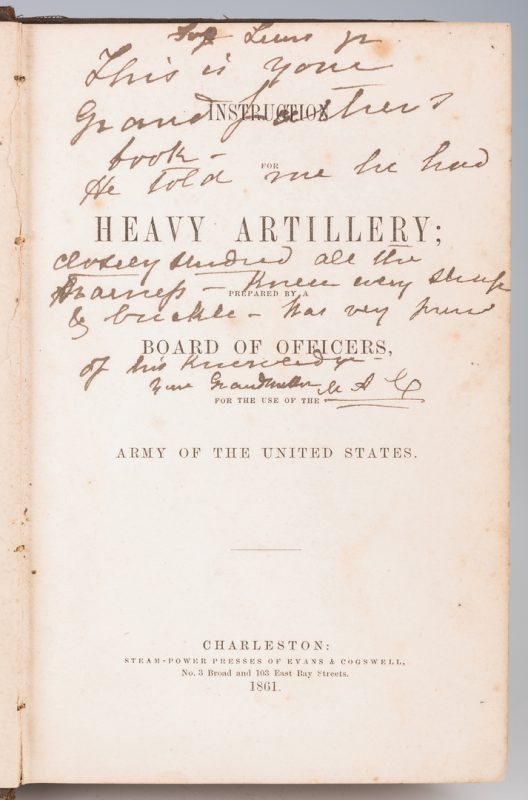 Lot 507: Military Book Belonging to Lewis Minor Coleman, Maj. Wm. Allen Signed
