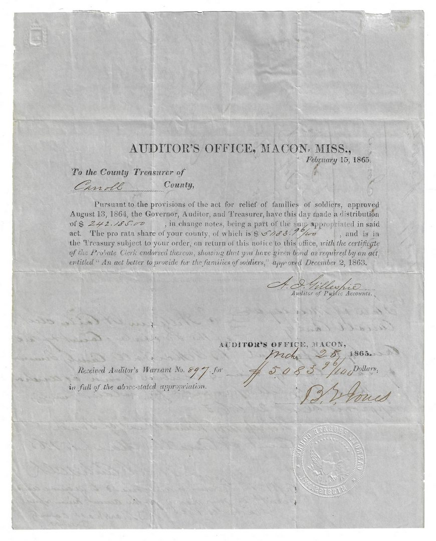 Lot 509: 7 Civil War CSA Military Documents, inc. Vicksburg