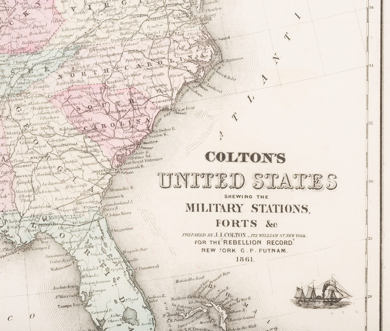 Lot 512: 2 Colton Civil War Maps, Military Stations & Forts, 3 items
