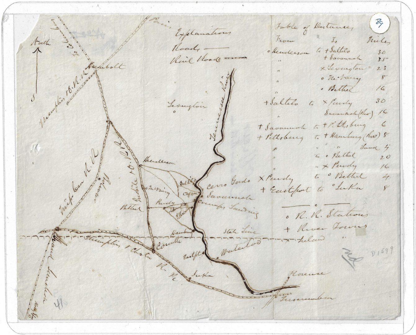 Lot 513: Civil War Manuscript Map, West TN Railroads