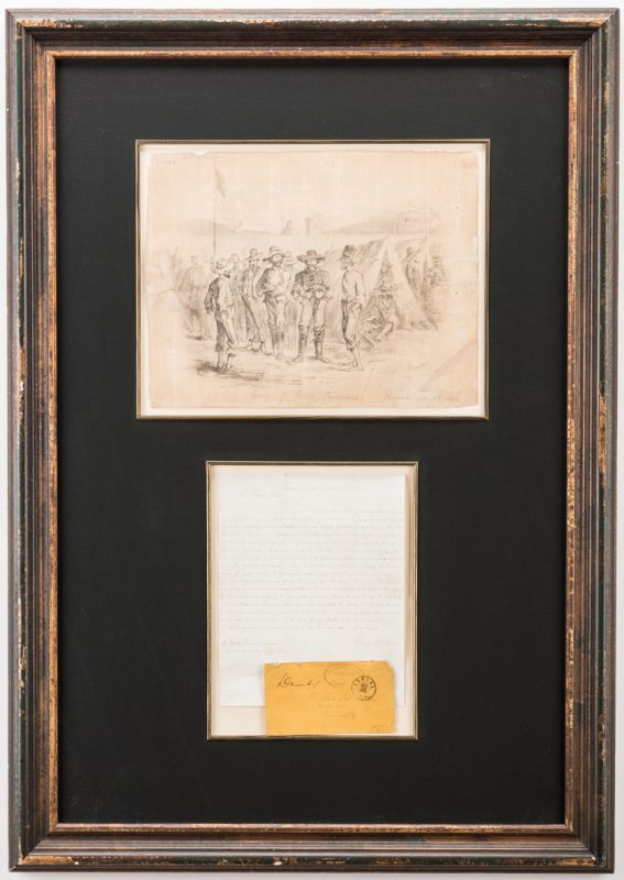 Lot 521: Civil War Prison Sketches and letter, 4 items