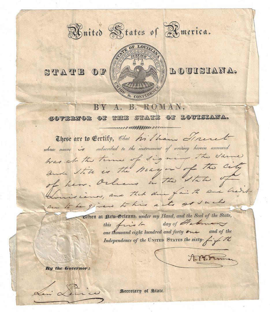 Lot 524: 2 Louisiana Documents, inc. Gov. A.B. Roman and Mayor Wm. Freret, Slave Case