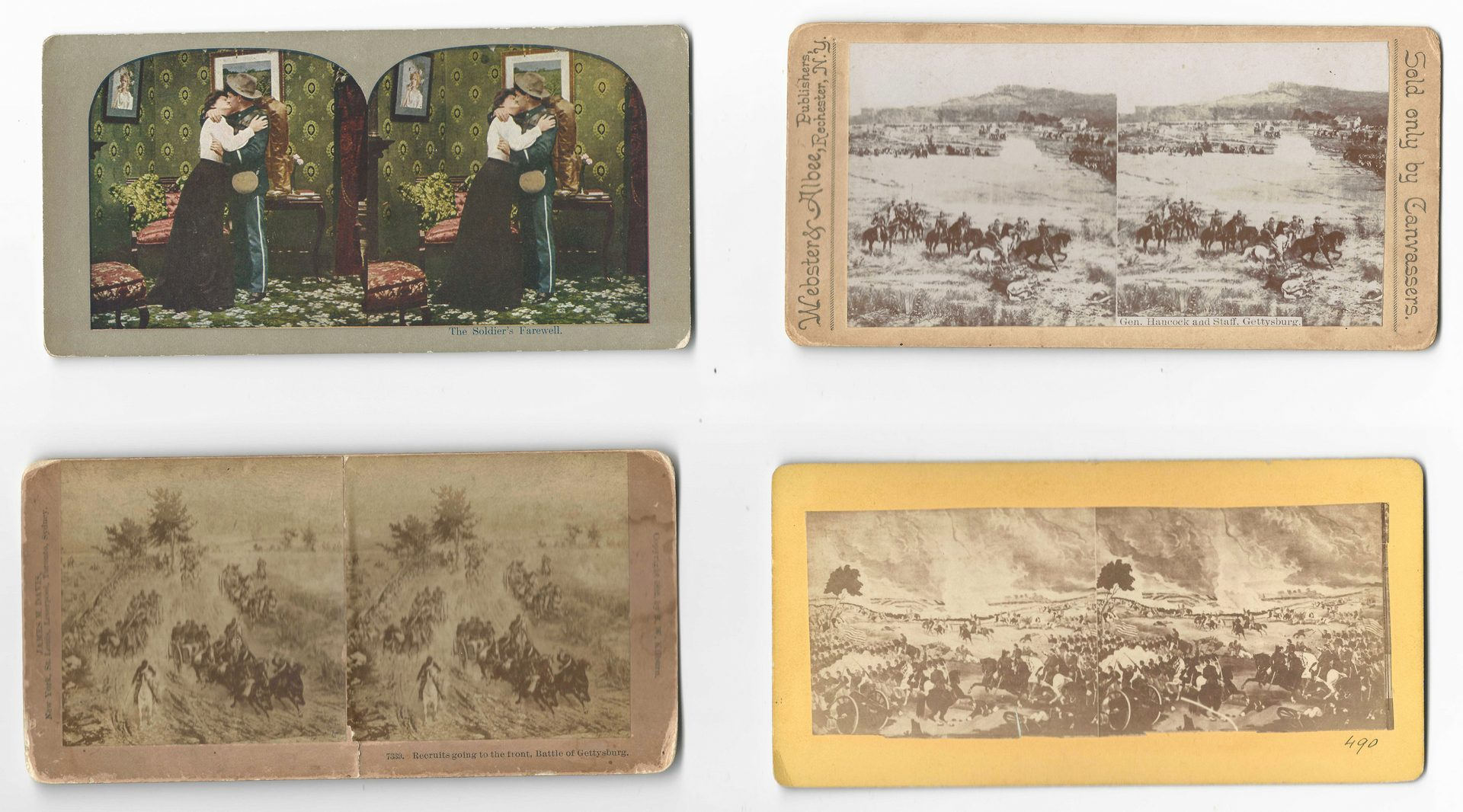 Lot 525: 11 Civil War related images inc. R.E. Lee and Gettysburg stereoviews