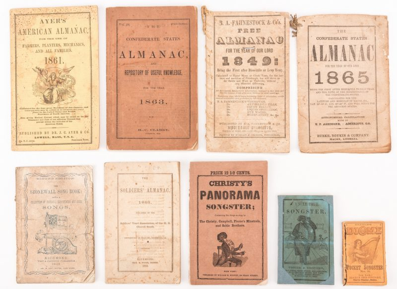 Lot 526: 9 Almanacs & Songsters, inc. Confederate Imprints