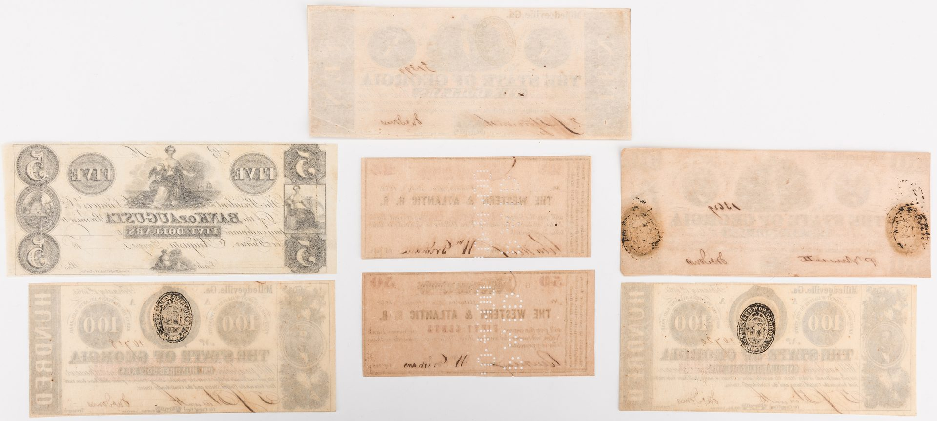 Lot 527: 7 GA Bills, inc. Confederate, Western-Atlantic