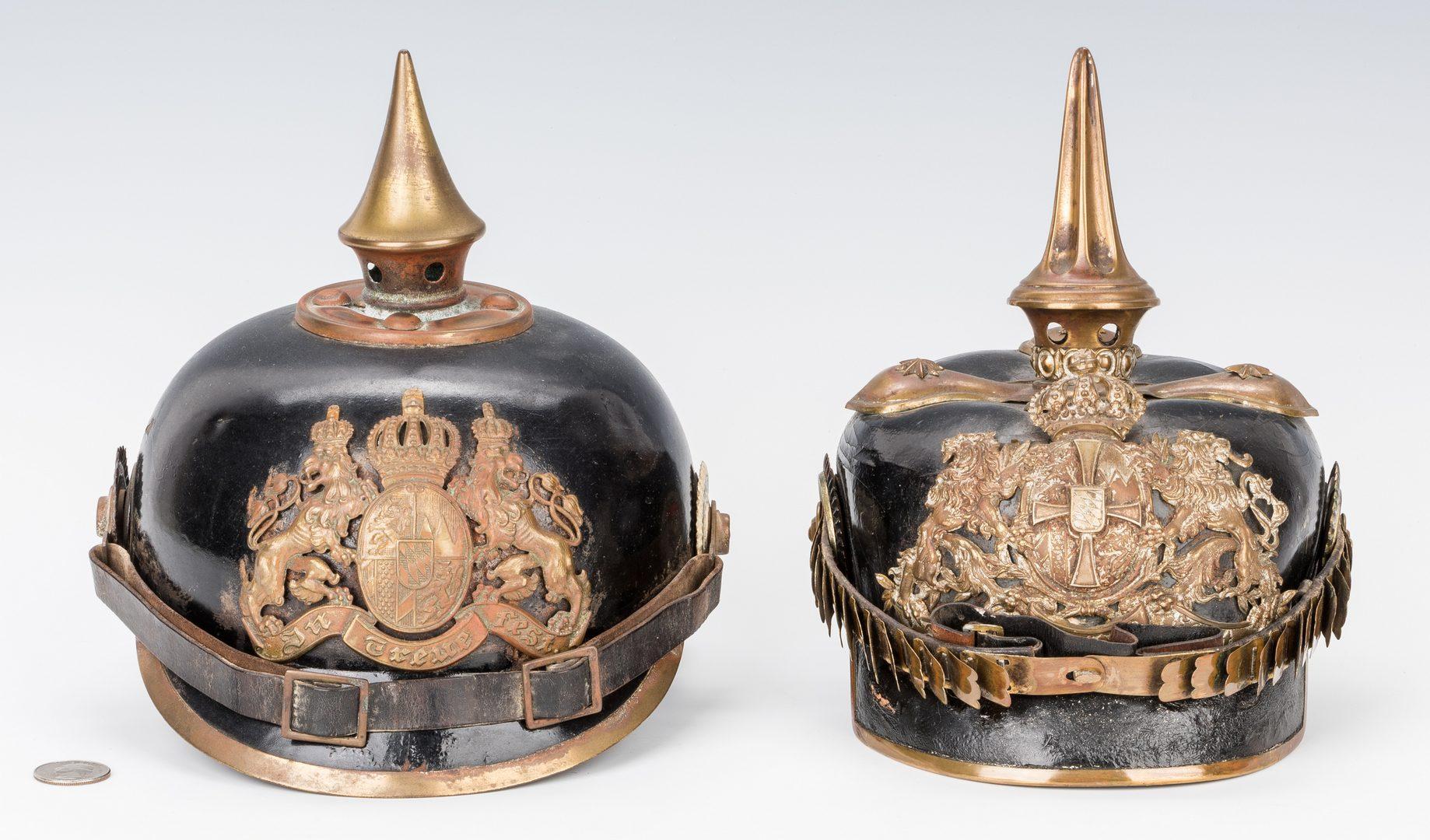Lot 530: Pair WWI German Pickelhaube Helmets
