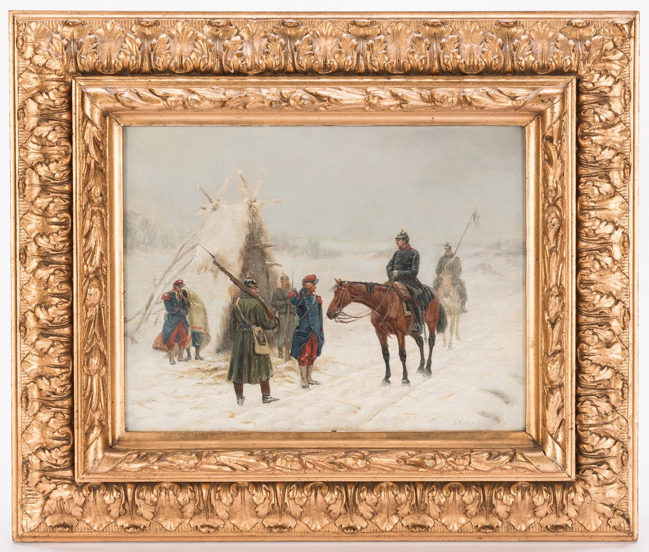 Lot 534: Rudolf Albert Becker-Heyer, Oil on Panel, Franco-Prussian Military Painting