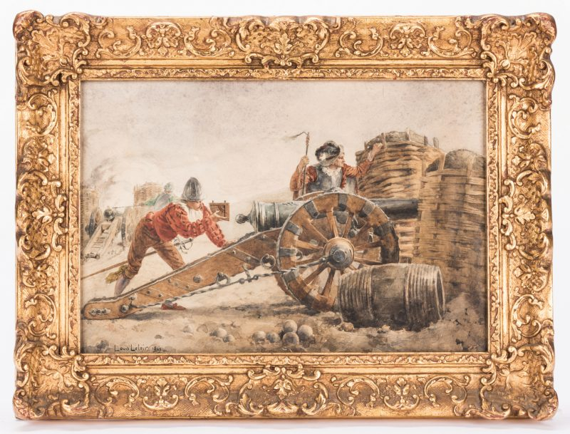 Lot 535: Alexandre Louis Leloir, Watercolor of Spanish Soliders