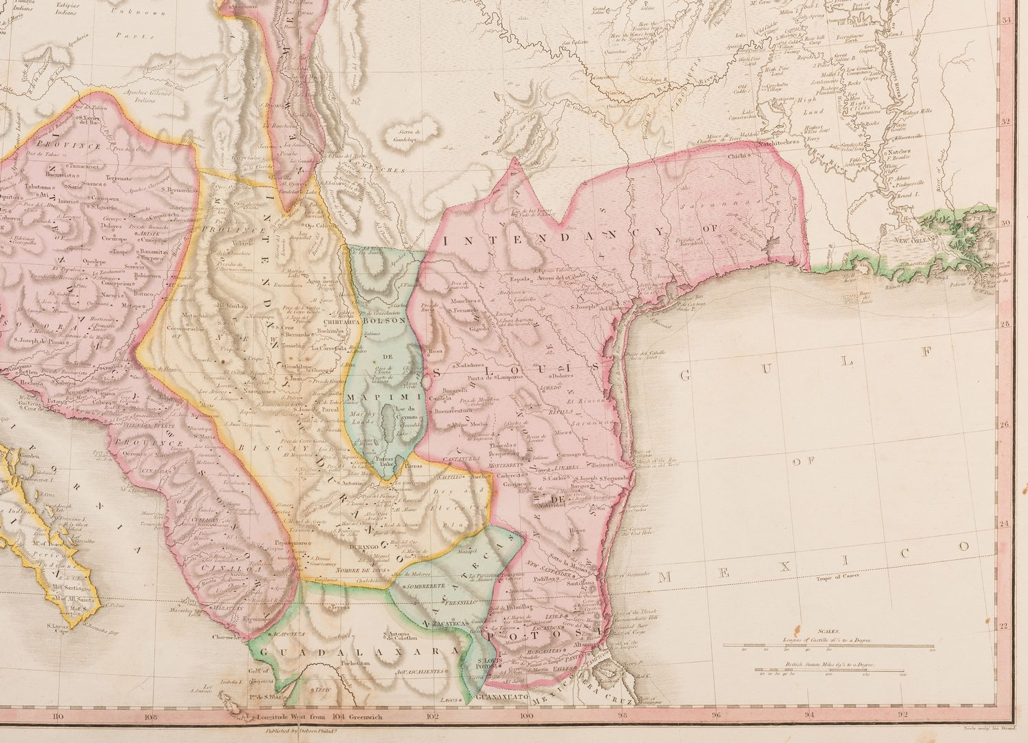 Lot 538: Spanish Dominions of N. Amer. Map, 1818 Pinkerton