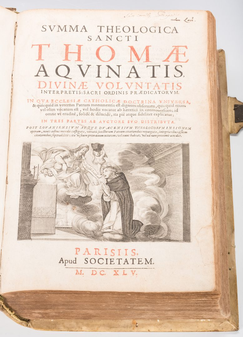 Lot 541: Thomas Aquinas 1645 Vellum Bound book