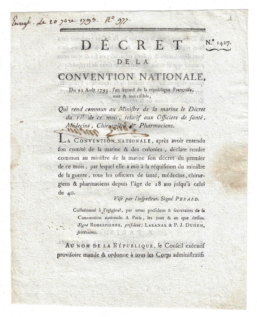Lot 542: 7 French Documents, inc. Revolution Era Decrees