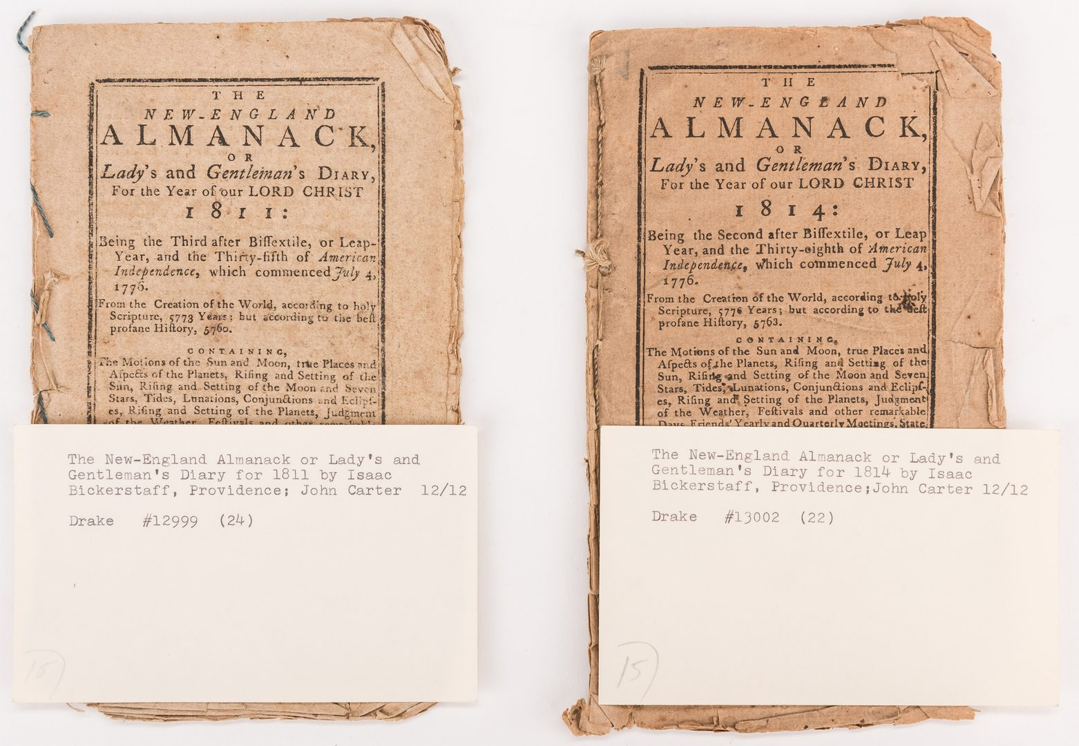 Lot 543: 11 Post Rev War Bickerstaff Almanacks