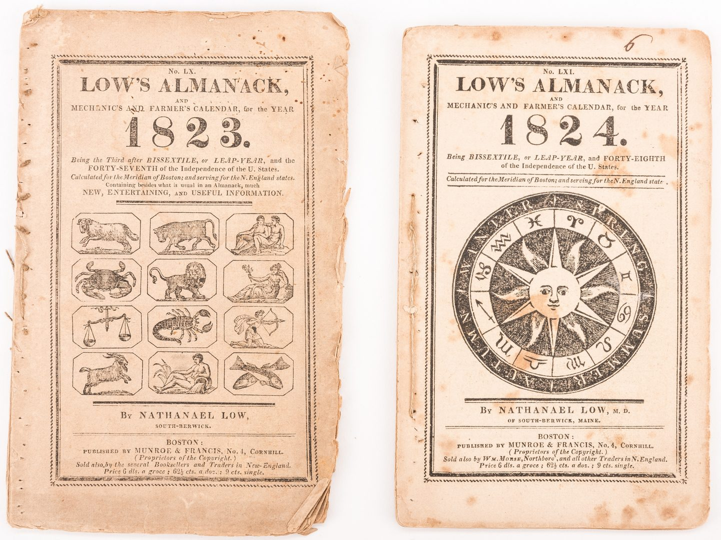 Lot 545: 25 Low's Almanacks, 1800-17, 1821-27
