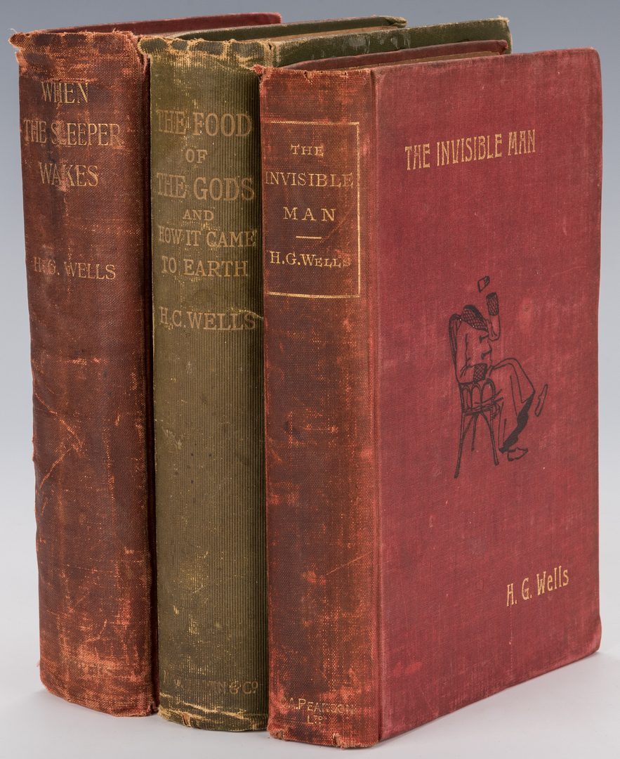 Lot 551: 3 H. G. Wells books including 1st Ed. The Invisible Man.