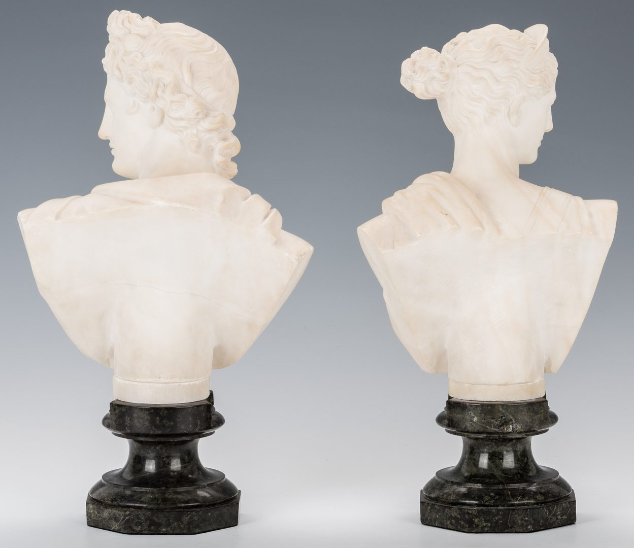 Lot 558: Pair of Carved Classical Alabaster Busts
