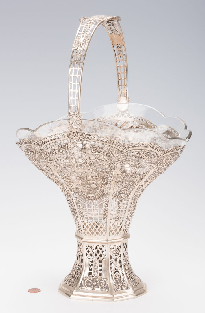 Lot 559: German Silver Basket with Insert
