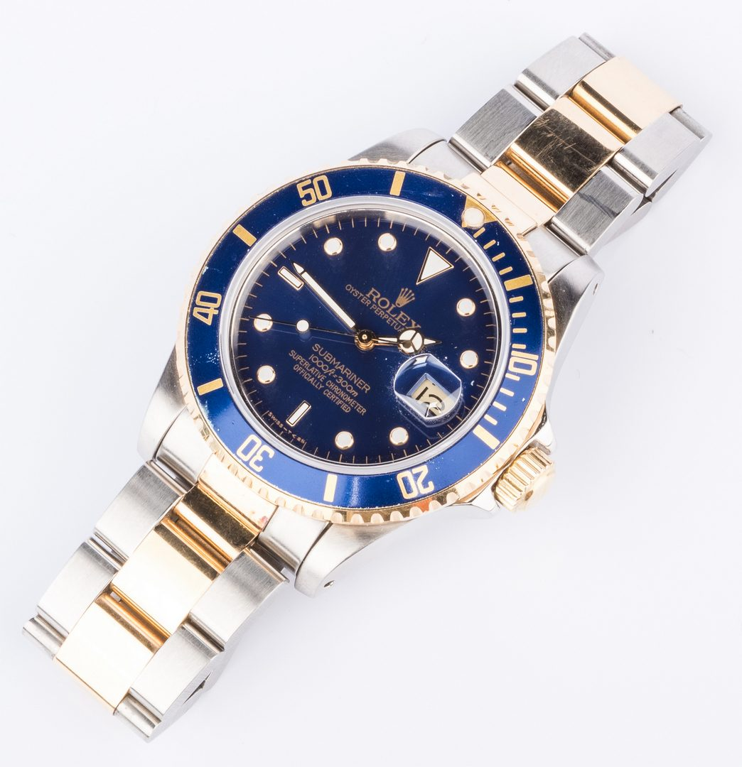 Lot 55: Gents Rolex 18K/Steel Submariner Blue face