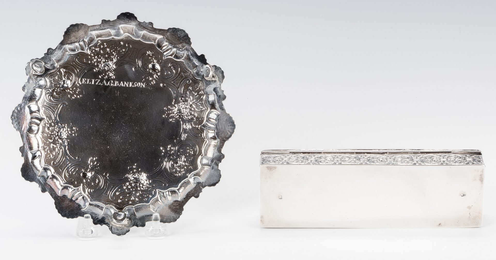 Lot 562: English Sterling Salver; German Coin Box