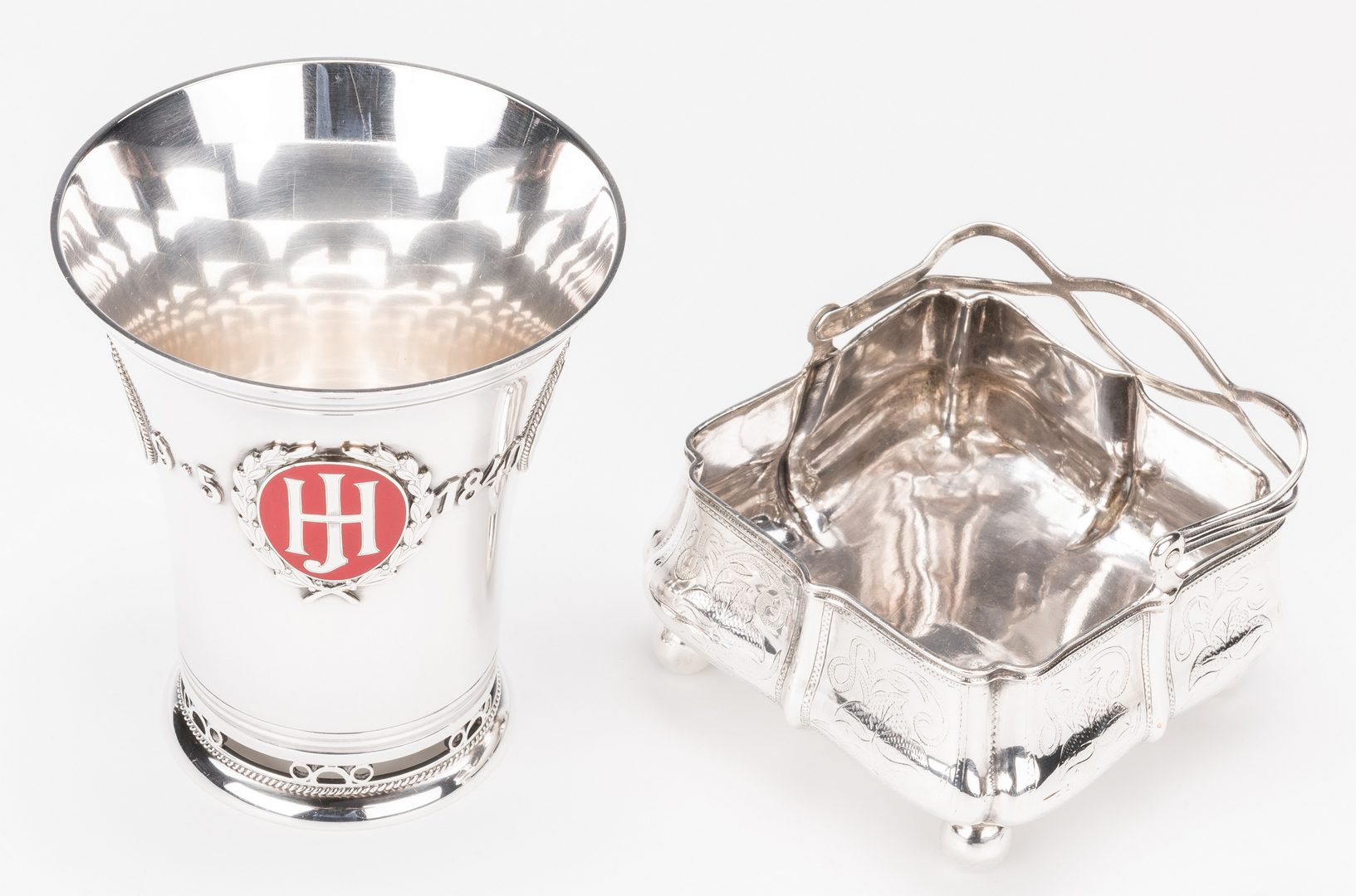 Lot 564: Silver and Enamel Flared Beaker plus Russian Basket
