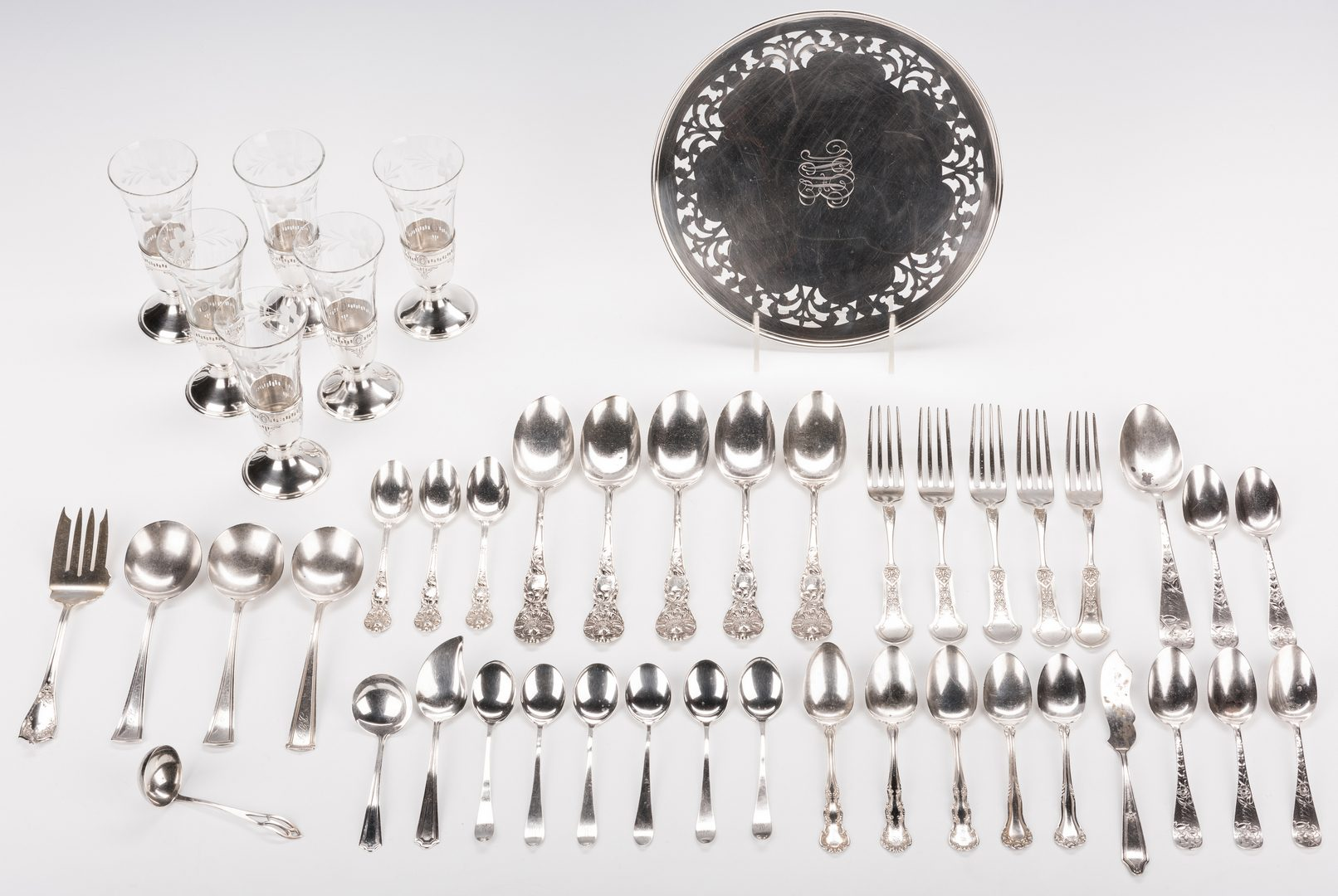 Lot 566: 45 Assorted Sterling Silver and Crystal Items