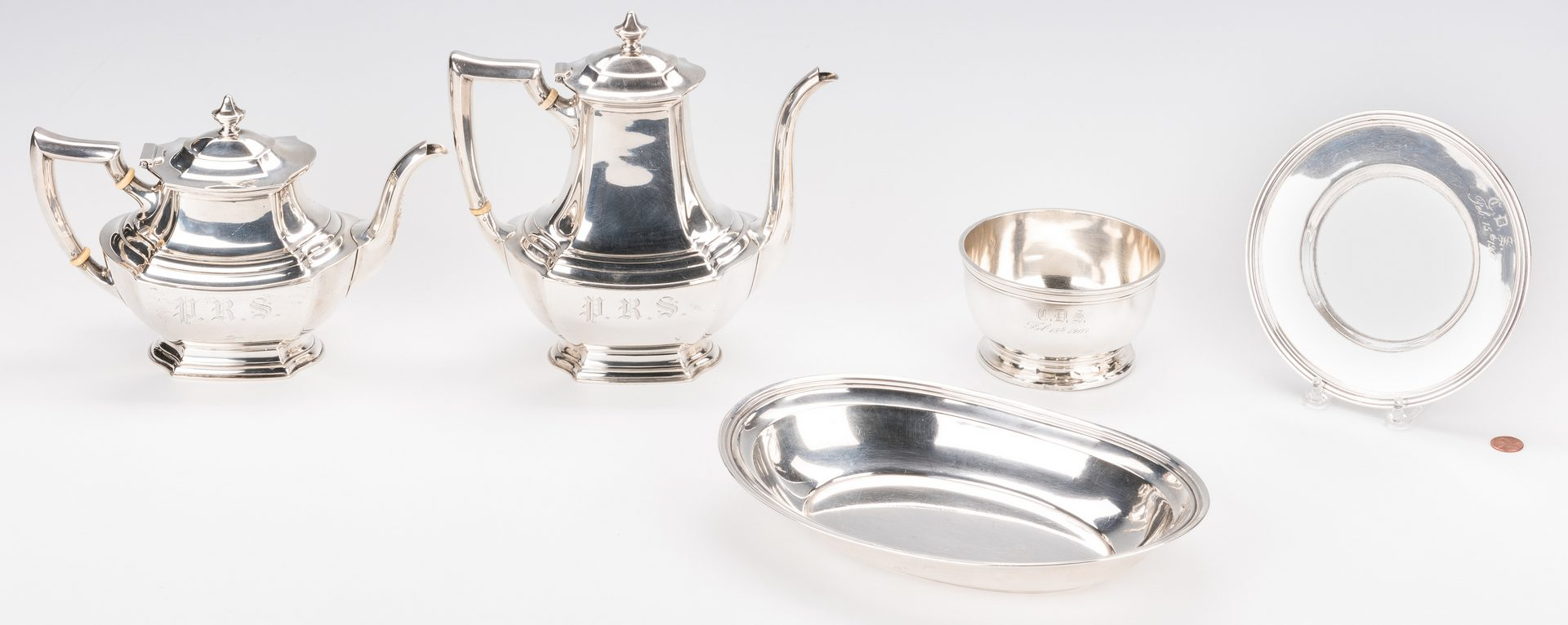 Lot 571: 5 pcs Sterling Holloware inc. 2 pots