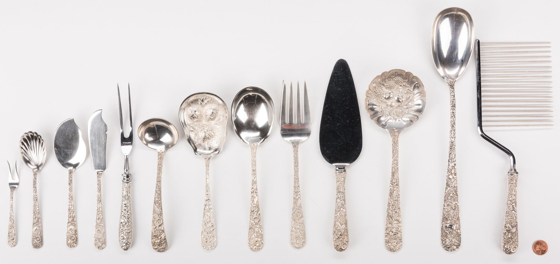 Lot 581: 13 Sterling Repousse Pattern Serving Pieces