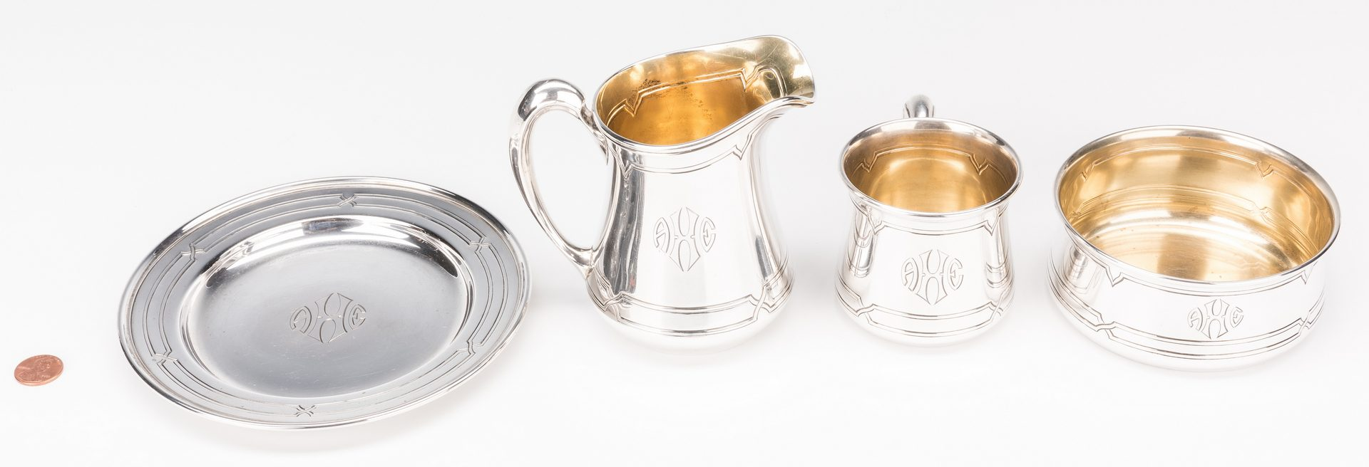 Lot 583: Rare 4 pc Art Deco Sterling Child's Set