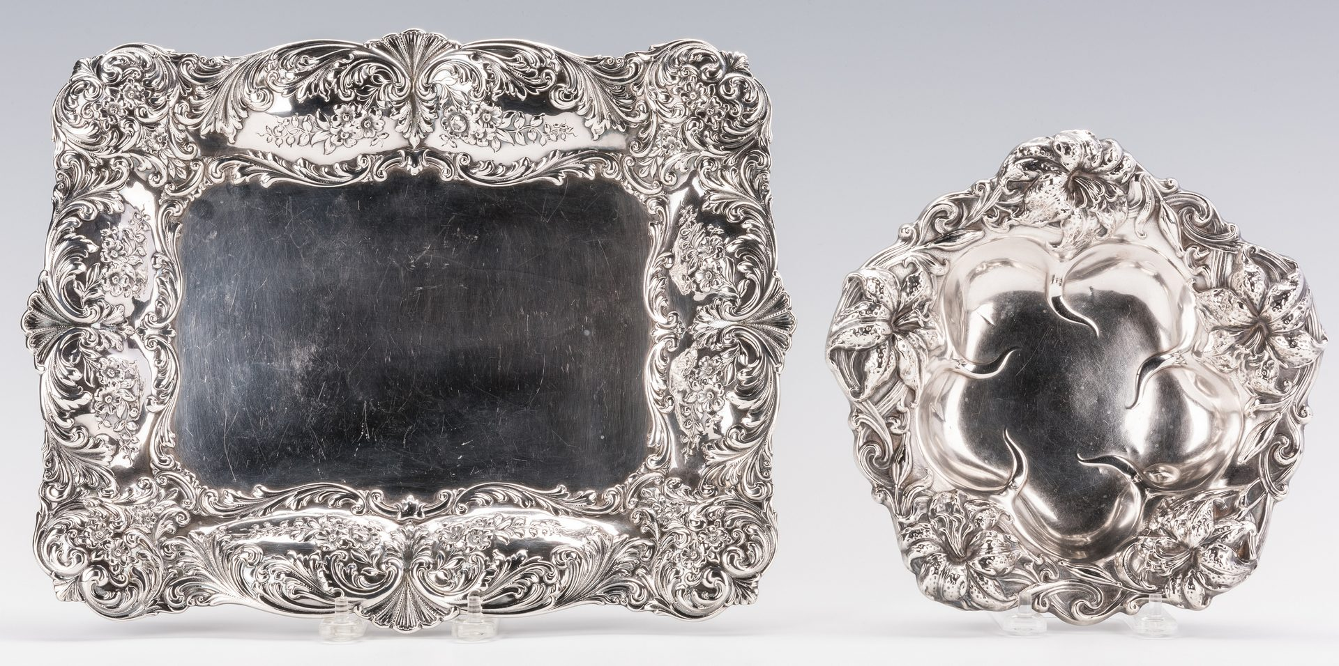 Lot 585: 2 Sterling Silver Repousse Serving Items, inc. Starr