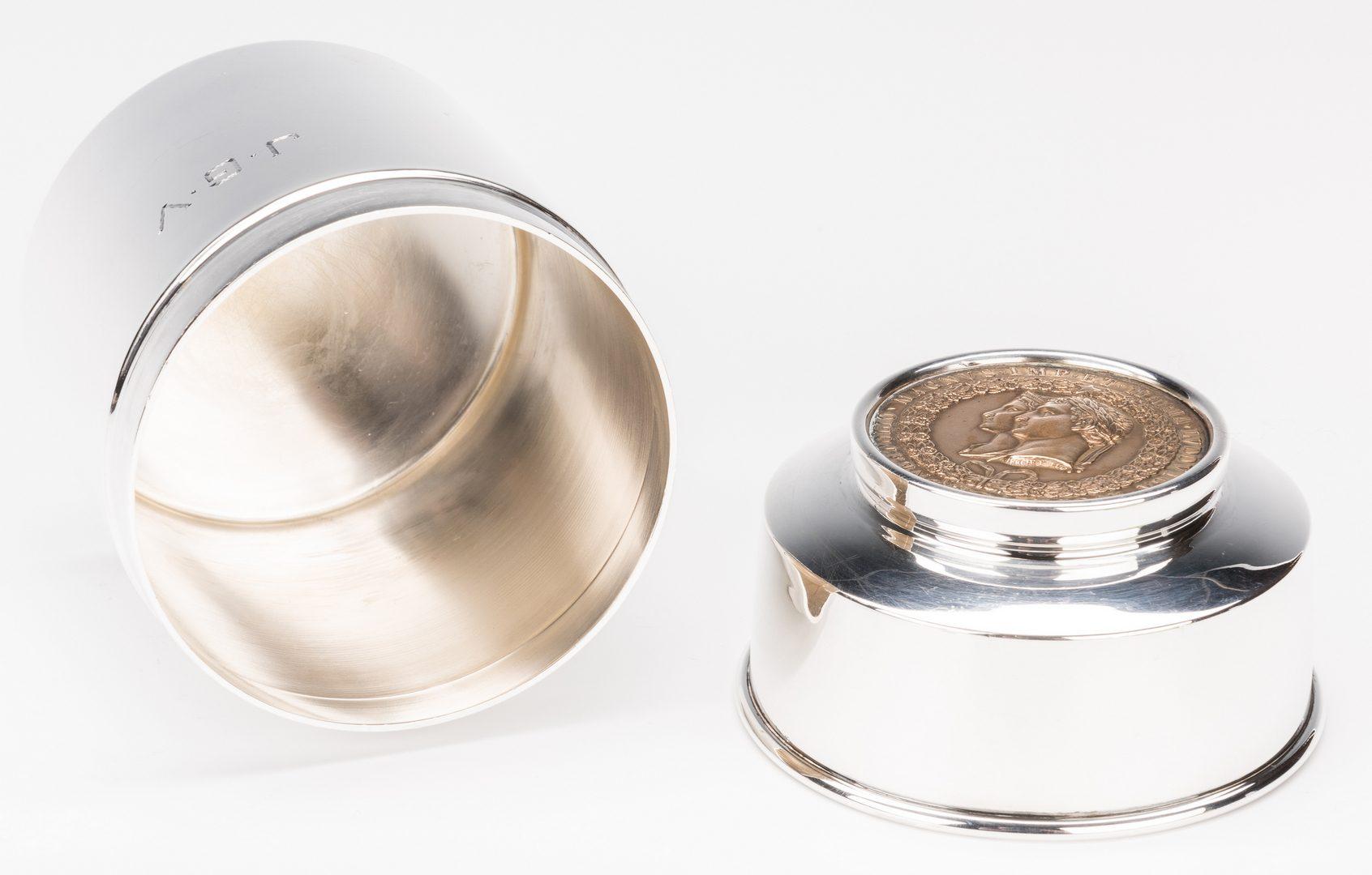 Lot 589: Silver Opera Glasses, Jigger and Cigarette Jar