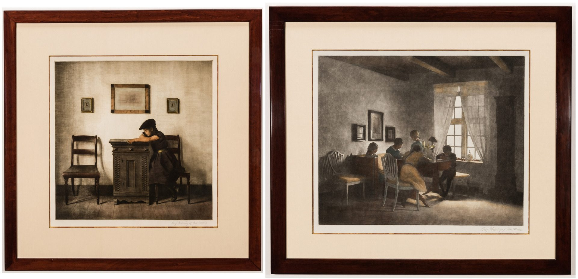 "Lot 591: Pair of Peter Ilsted Mezzotints, ""The Rainy Day"" & ""Little Girl with Flat Cap"""