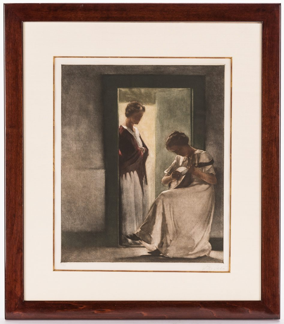 "Lot 592: Pair of Peter Ilsted Mezzotints ""Two Girls in a Doorway"" & ""Woman Reading"""