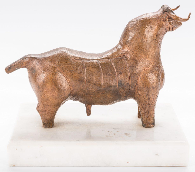 Lot 596: Juarez Cubist Bronze Sculpture of a Bull