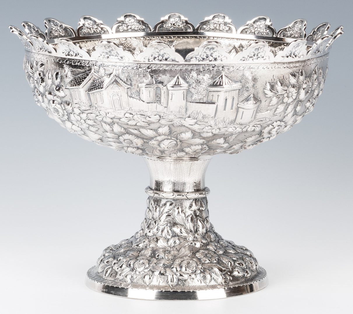 Lot 59: Baltimore Coin Silver Repousse Monteith Bowl