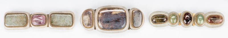 Lot 5: 3 Chinese Jade, Stone & Gilt Bronze Belt Buckles