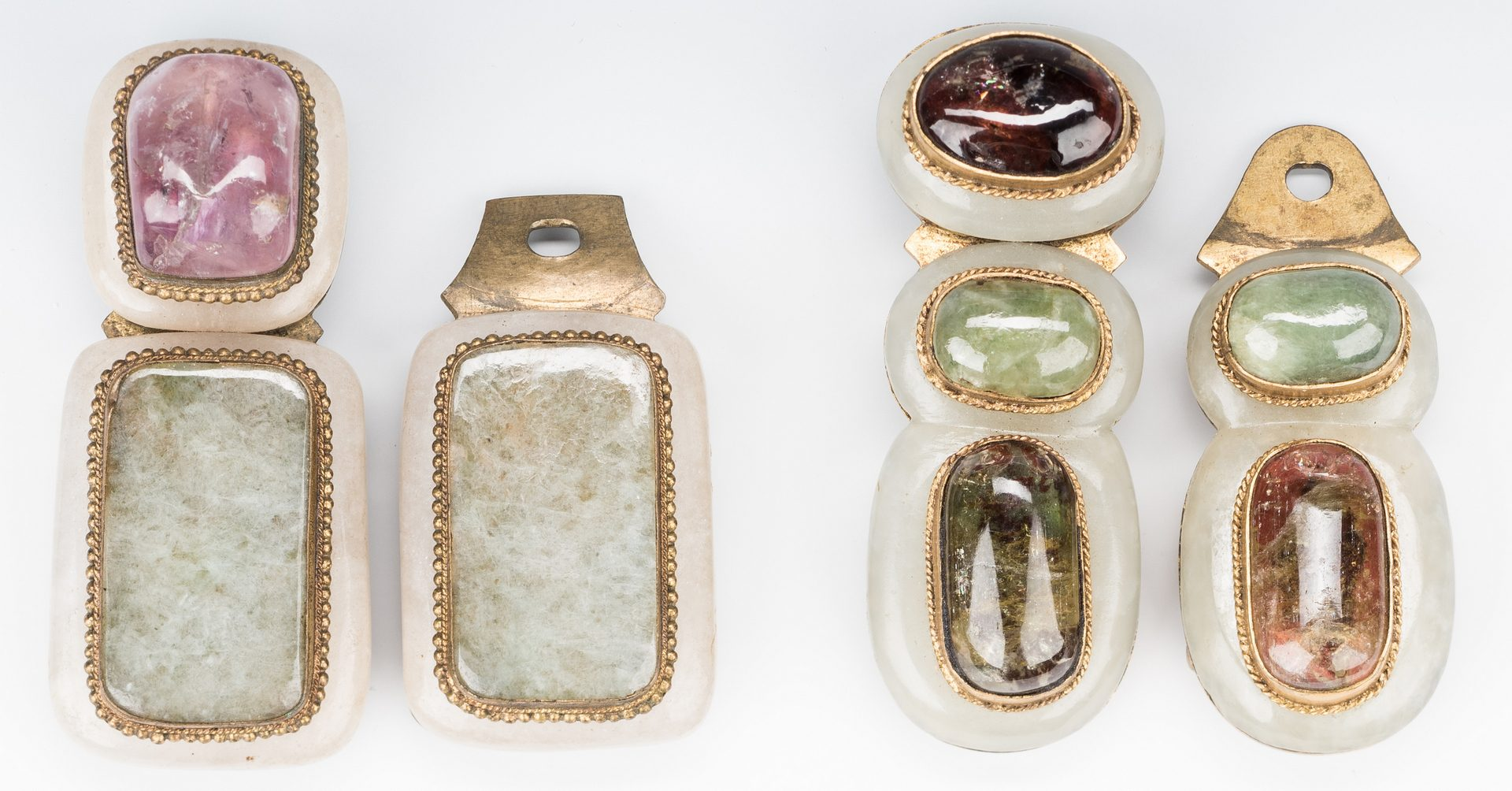 Lot 5: 3 Chinese Jade, Stone & Gilt Bronze Belt Buckles
