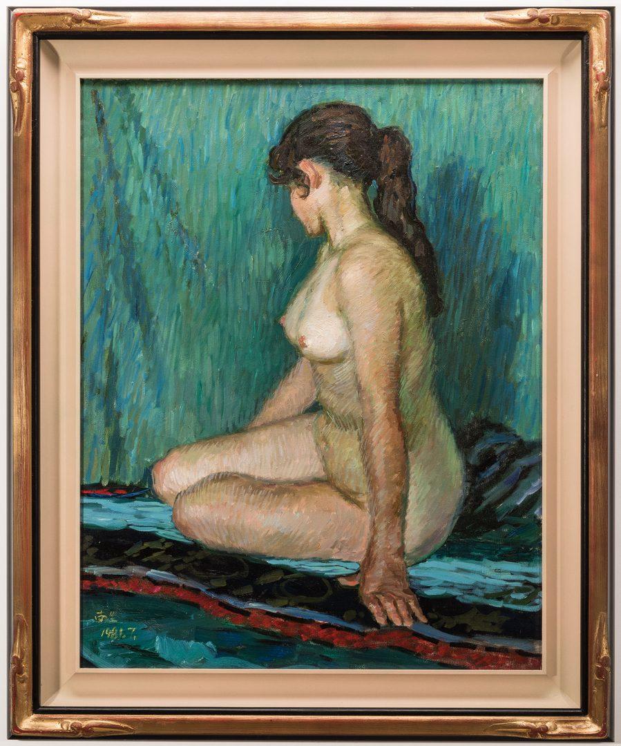Lot 601: Signed Japanese O/C Impressionist Female Nude