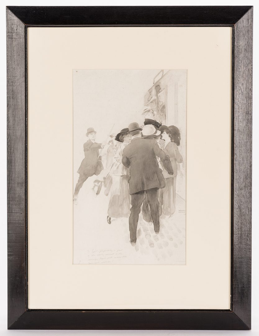 Lot 609: Frank Craig Illustration NY Street Scene