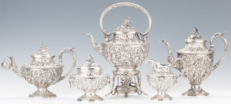 Lot 60: Kirk Repousse 6 Piece Sterling Tea Service