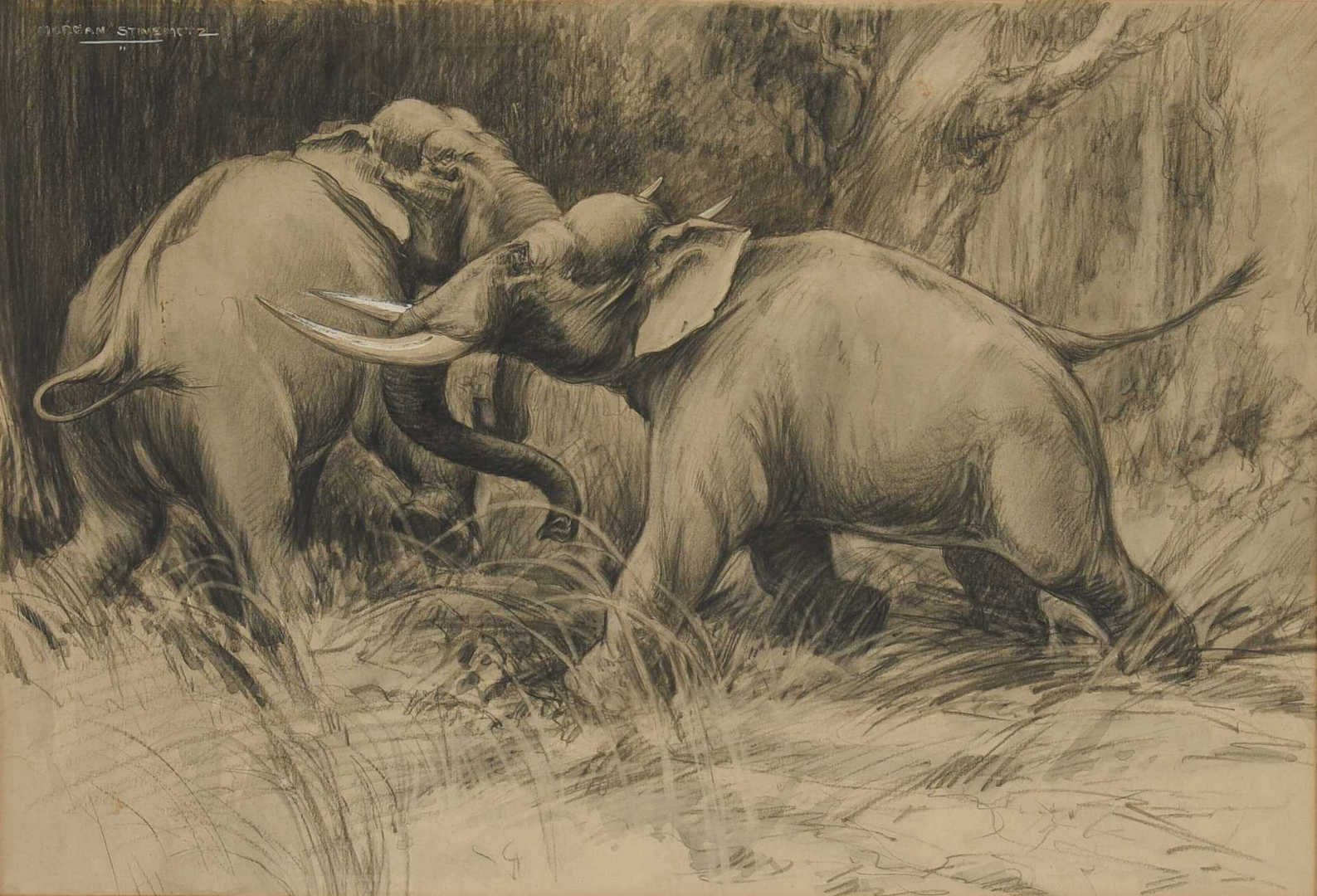 Lot 610: 2 Morgan Stinemetz drawings, ostrich and elephants