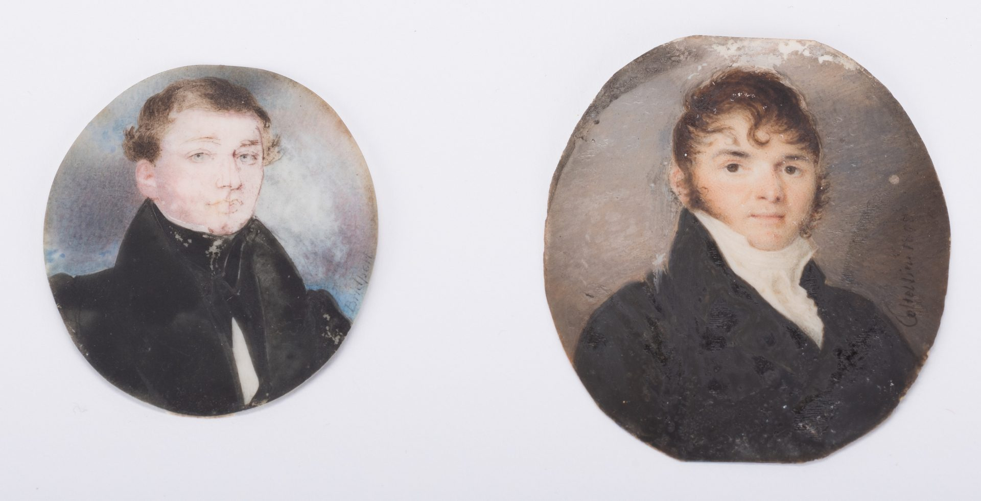 Lot 615: 2 Portrait Miniatures, Signed, 1 American